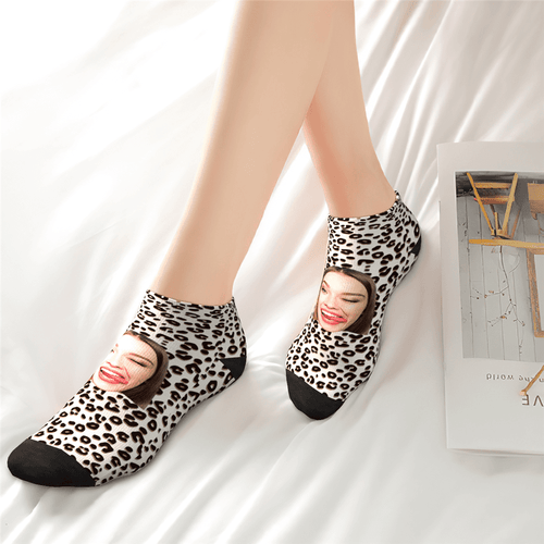 Customized Leopard Print Ankle Socks