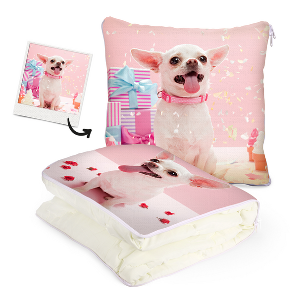 "Custom Pet Photo Quillow - Multifunctional Throw Pillow and Quilt 2 in 1 - 47.25""x55.10"""