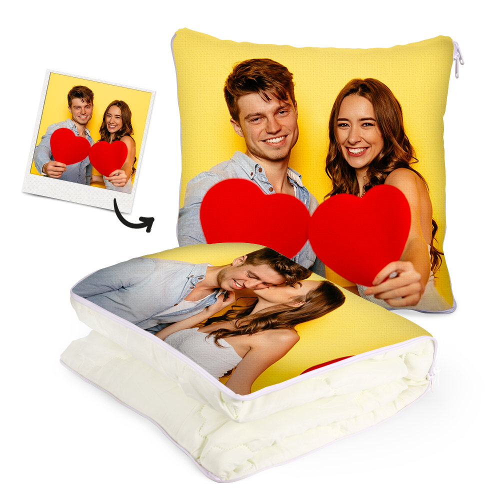 Custom Couple Photo Quillow - Multifunctional Throw Pillow and Quilt 2 in 1 - 47.25