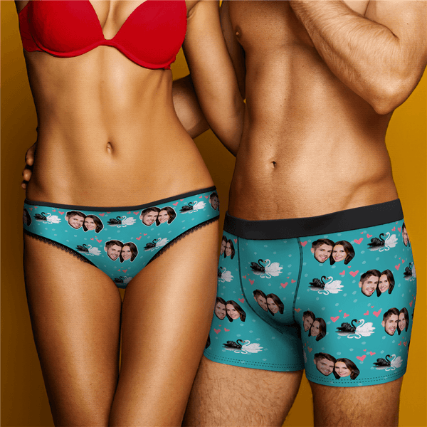 Couple Men's Custom Swan And Face On Boxer Shorts