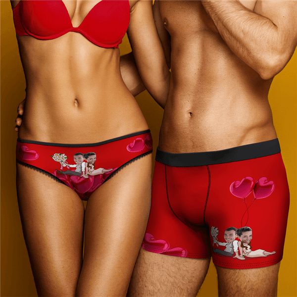 Romantic Couple Men's Custom Face On Boxer Shorts