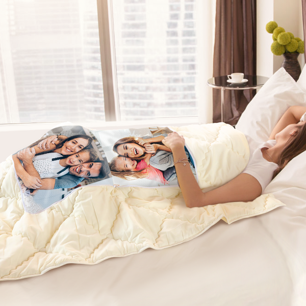 "Custom Family Photo Quillow - Multifunctional Throw Pillow and Quilt 2 in 1 - 47.25""x55.10"""