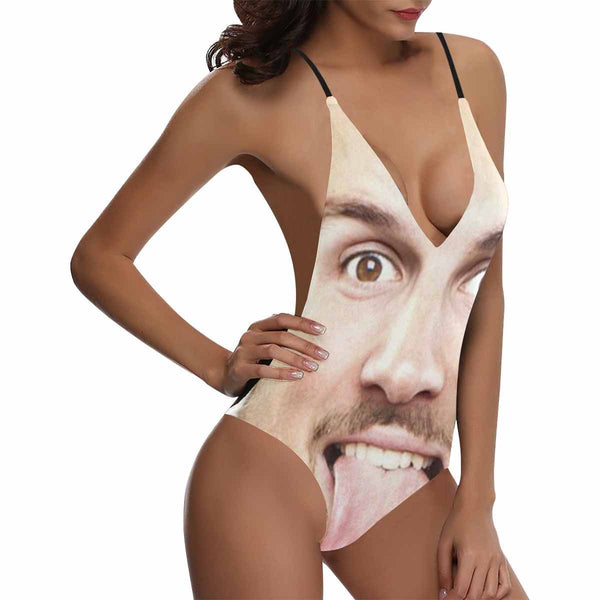 Custom Face Photo Women's Lacing Backless One Piece Sexy Swimsuit