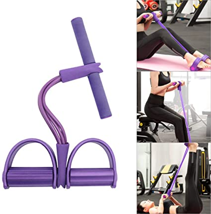 Pedal Resistance Band 4 Tubes Fitness Sit-up Pull Rope