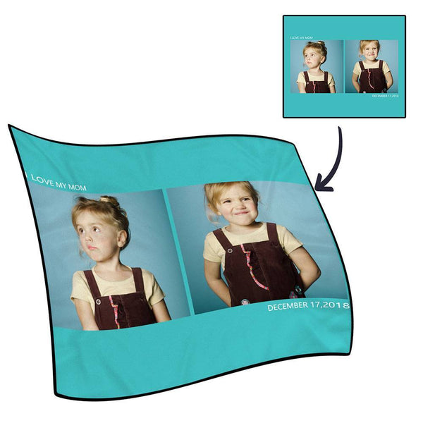 Personalized Photo Blanket Fleece with Text - 2 Photos
