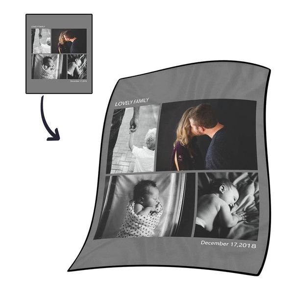 Personalized Photo Blanket Fleece with Text - 4 Photos