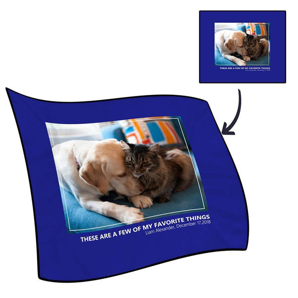 Photo Fleece Blanket with Text - Love Family
