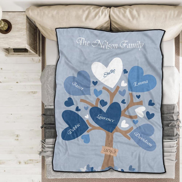 Personalized 4 Names Blanket - Fleece Blanket Love Family Tree