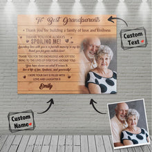 Custom Photo Wall Decor Painting Canvas With Text - To Best Grandparents