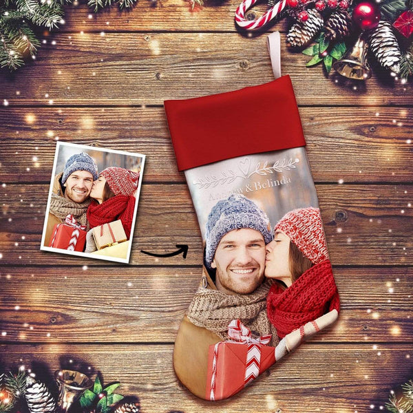 Custom Photo Engraved Christmas Stocking Socks Gifts for Couple