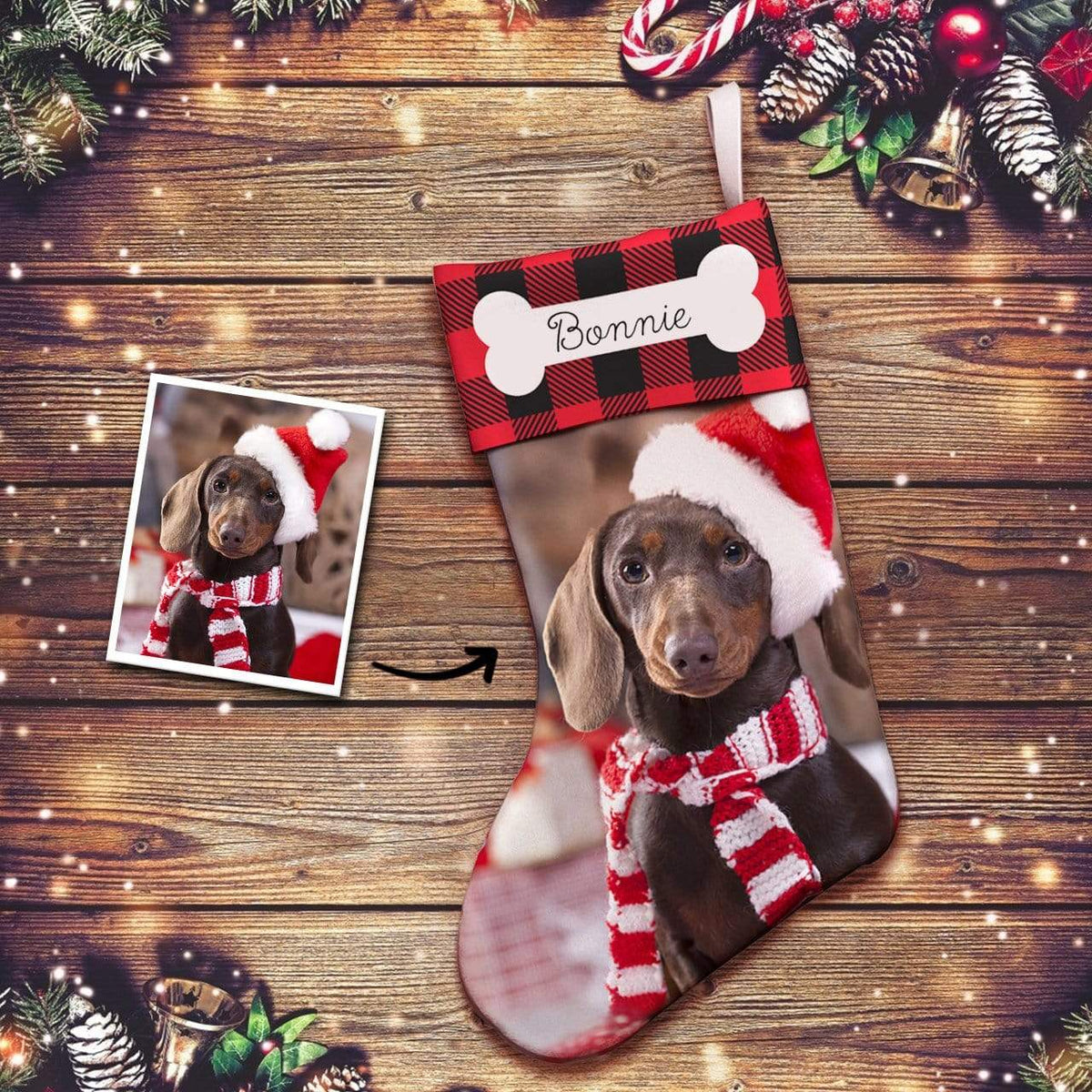 Custom Photo Engraved Christmas Stocking Socks Gifts for Dog