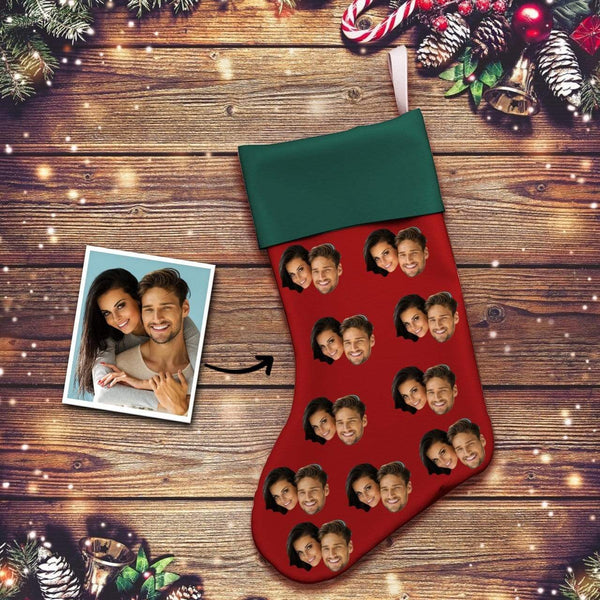 Custom Photo Face Christmas Stocking Socks Gifts for Couple