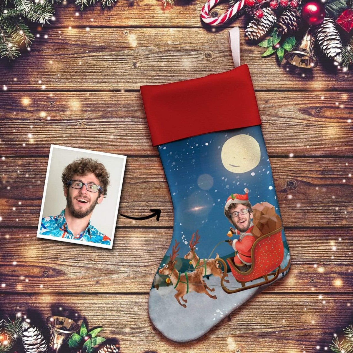 Custom Photo Face Christmas Stocking Socks Gifts for Man