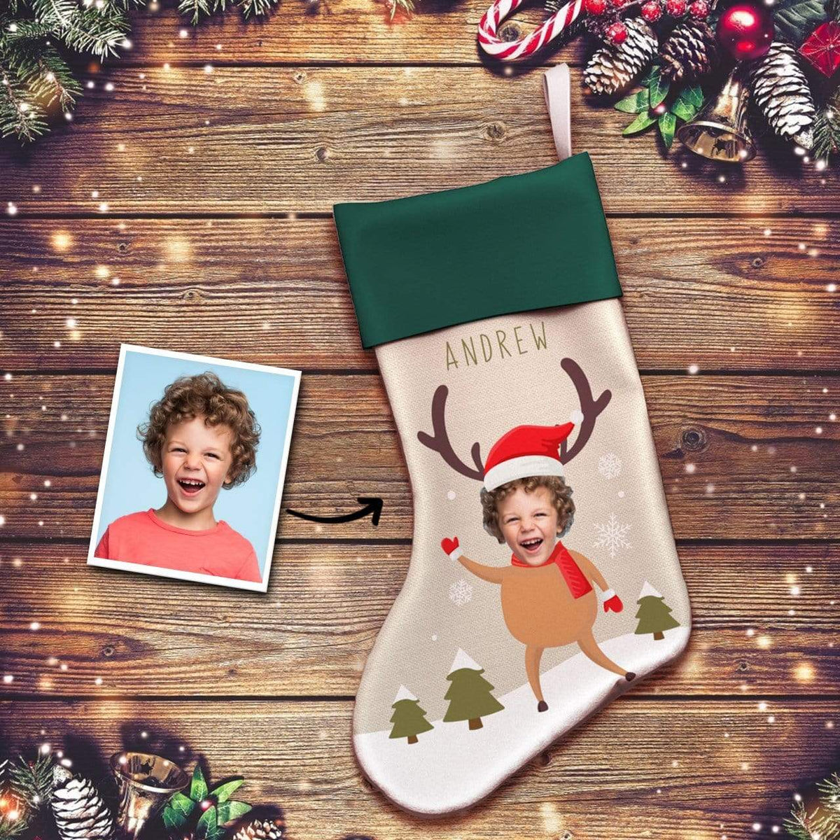 Custom Photo Face Engraved Christmas Stocking Socks Gifts for Child