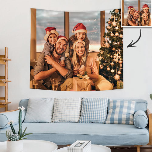 Christmas Gifts Custom Family Photo Tapestry Short Plush Wall Decor Hanging Painting