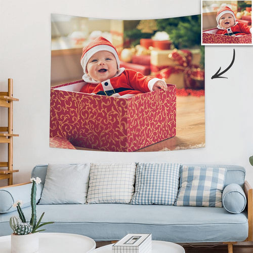 Christmas Gifts Custom Baby Photo Tapestry Short Plush Wall Decor Hanging Painting