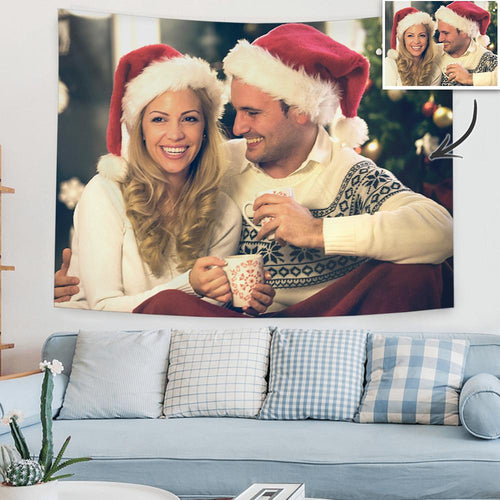 Christmas Gifts Custom Couple Love Photo Tapestry Short Plush Wall Decor Hanging Painting