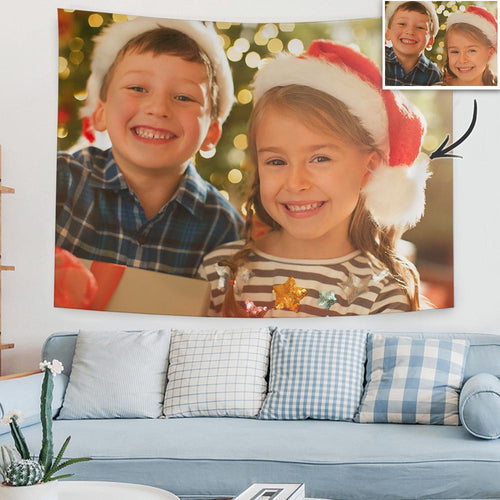 Christmas Gifts Custom Kids Photo Tapestry Short Plush Wall Decor Hanging Painting