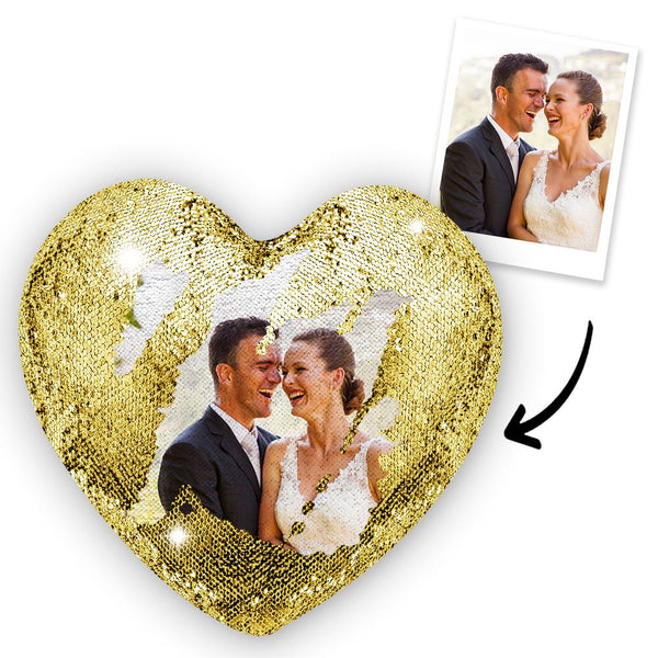 Custom Sweet Love Photo Magic Heart Sequins Pillow Multicolor Shiny