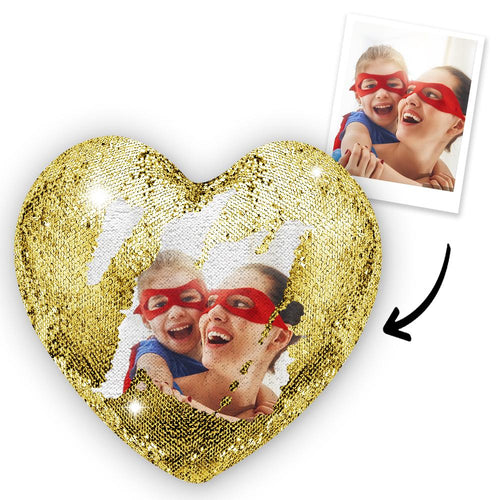 Custom Photo Magic Heart Sequin Pillow Multicolor Shiny