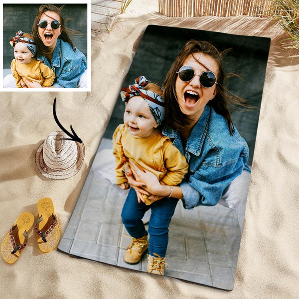 Customized Photo Personalized Beach Towel Gift PoolTowel for Family