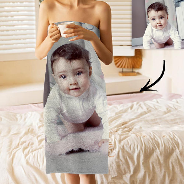 Custom Photo Bath Towels Beach Towels Ultrafine Fiber for Baby Creative Gifts for Newborn