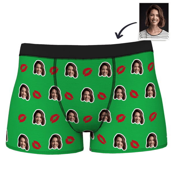 Valentine's Day Creative Gift Couple Men's Custom Face Boxer Shorts - Kiss