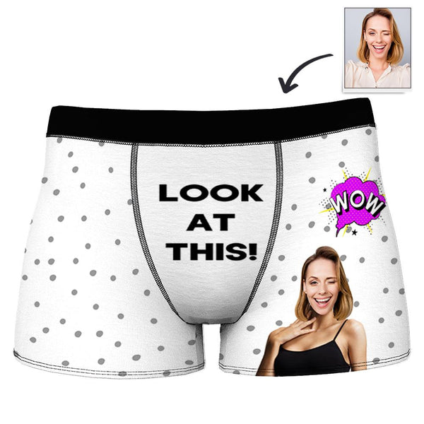 Custom Photo Boxer Shorts for Men with WOW LOOK AT THIS Printed