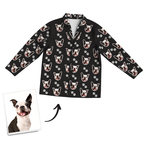 Multi-Color Custom Dog Photo Long Sleeve Pajamas, Sleepwear, Nightwear