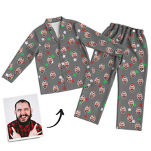 Multi-Color Custom Photo Long Sleeve Pajamas, Sleepwear