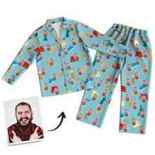 Multi-Color Custom Photo Long Sleeve Pajamas, Nightwear - Father's Day Gifts