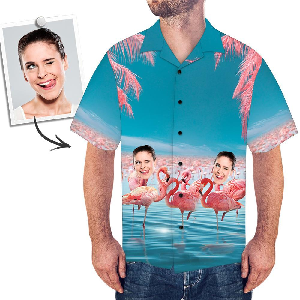 Custom Face Shirt Men's All Over Print Hawaiian Shirt Flamingo and Sea