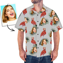 Custom Face Hawaiian Shirt Red Flamingo