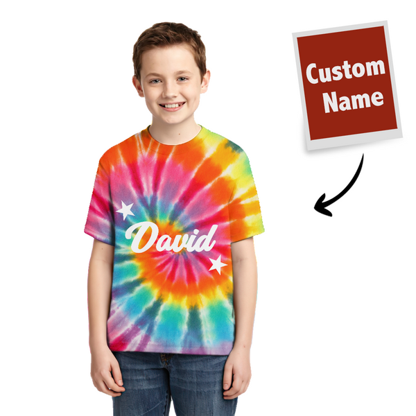 Tie-dye T-shirt Custom T-shirt Rainbow Color Children Gifts