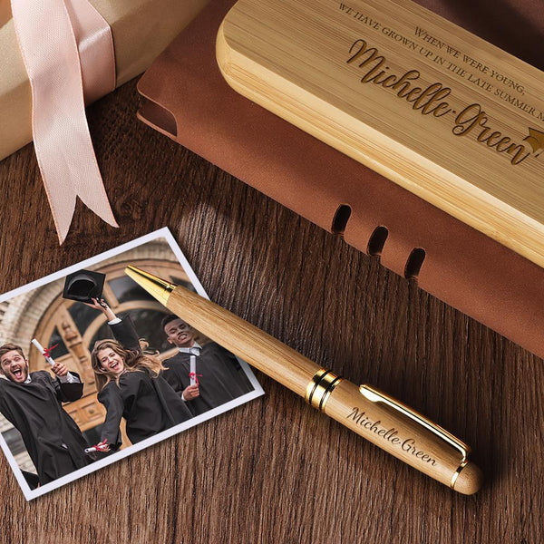 Engraved Wood Pen Set Custom Graduation Gifts Set of Two