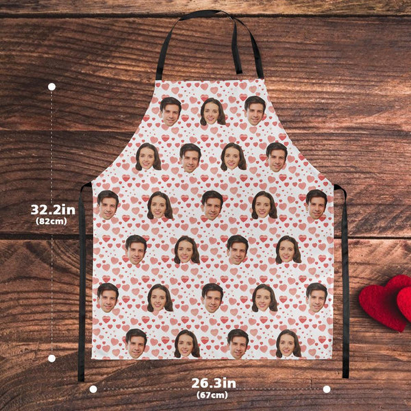 Custom Face  Heart Apron For Kitchen Cooking Restaurant BBQ Painting Crafting Gift