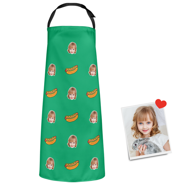 Custom Face Apron Cartoom Photo Apron - Hot Dog
