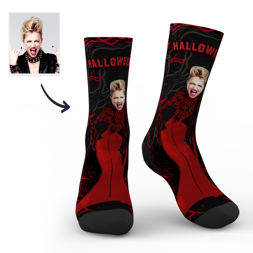 Halloween Customized Women Red Dress Monster Socks