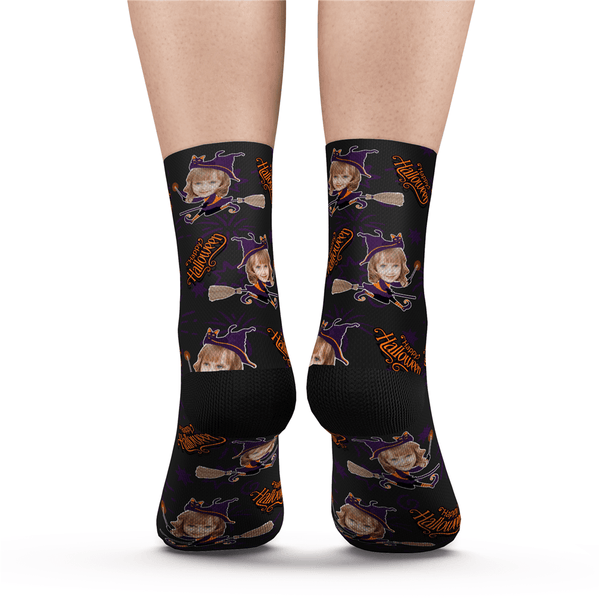 Halloween Customized Girl Witch Face Socks