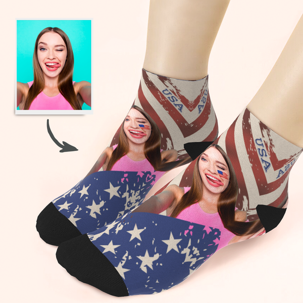 Customized Face National Flag Ankle Socks