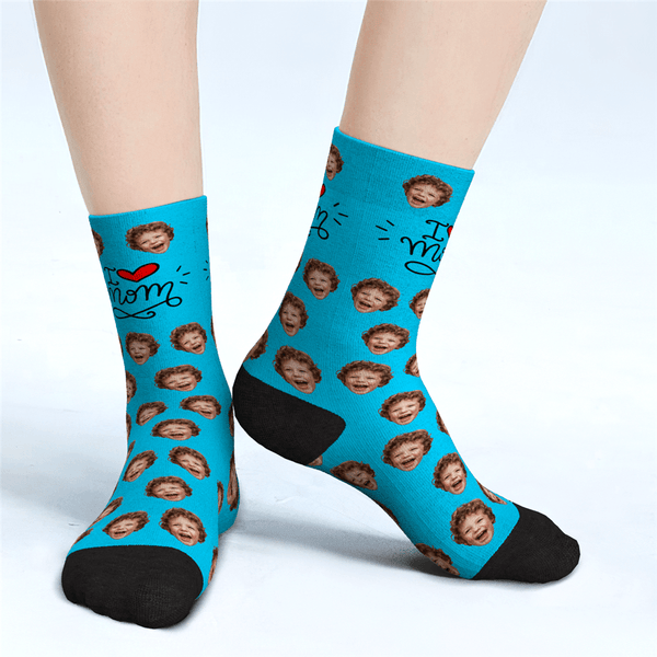 Custom Face Socks Gift For Mom - I Love Mom Mother's Day Gifts