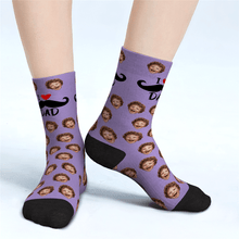 Custom Face Socks For Dad Father's Day Gifts - I Love Dad