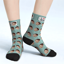 Custom Face Socks Cute Elephant For Mom I Love Mom