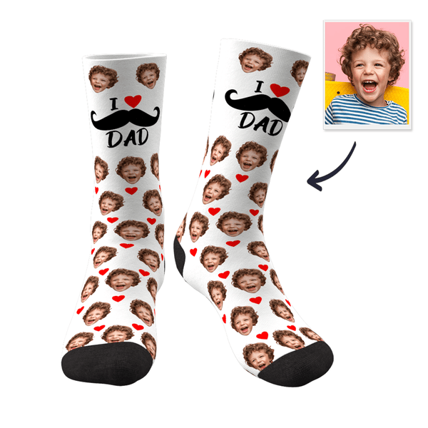 Father's Day Gifts - Custom Heart Face Socks I Love Dad