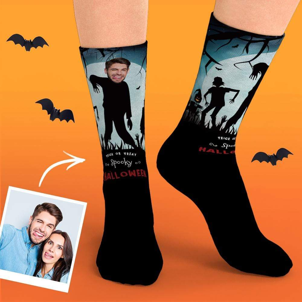 Photo Socks with Your Funny Face Custom Face Halloween Gifts for Family