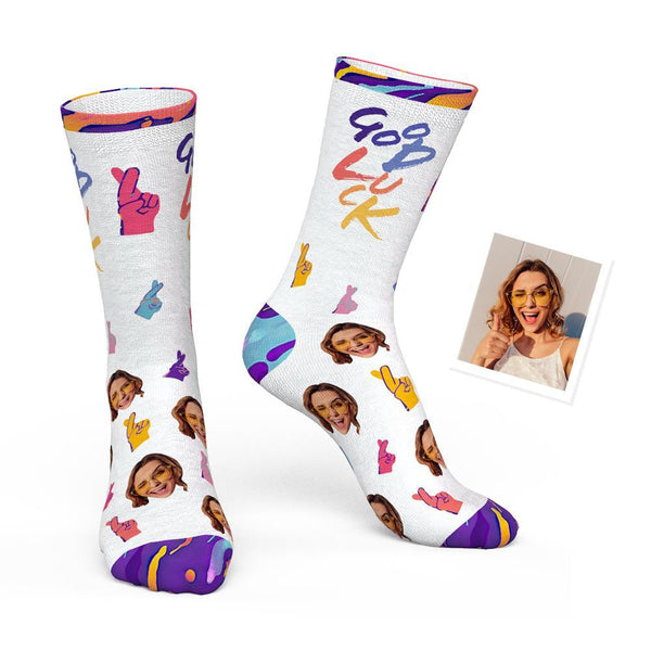 Custom Sign L anguage Sock with Your Face - Good Luck