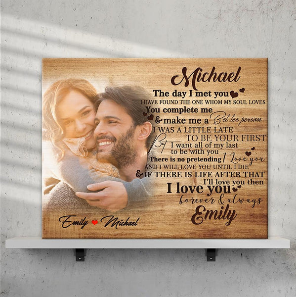 Custom Photo Wall Decor Painting Canvas With Couple Name