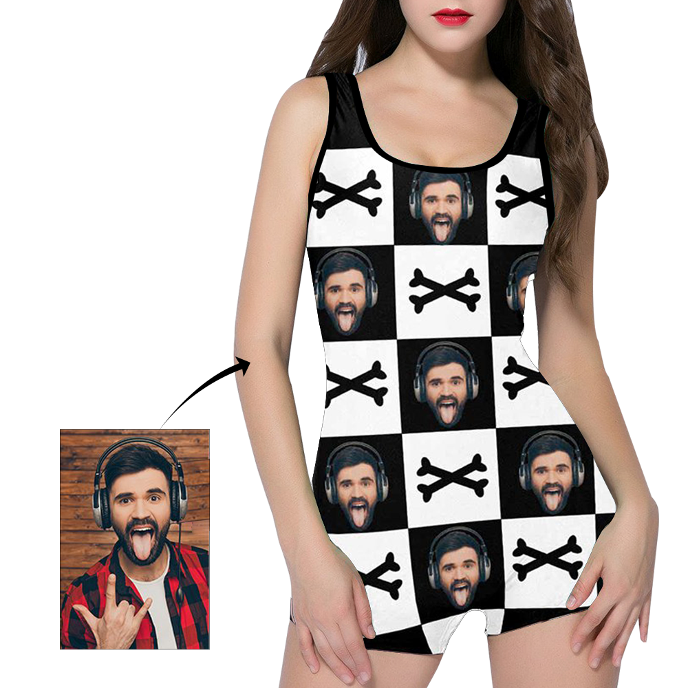 Custom Face Crossbones Black and White Women's One Piece Boyleg Swimsuit