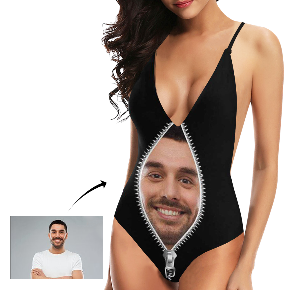 Custom Face Zipper Photo Women's One Piece Sexy Suit