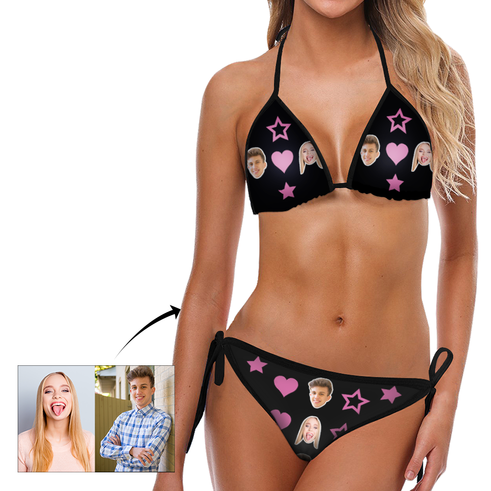 Custom Head Photo Heart and Star Bikini Sexy suit